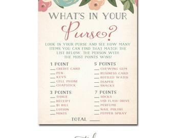 Bridal Shower Game Card, Bridal Shower What's In Your Purse Game, Game Bridal Shower Card INSTANT DOWNLOAD