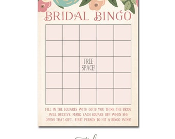 Bridal Shower Bingo, Bridal Bingo, Bingo Bridal Shower Card INSTANT DOWNLOAD