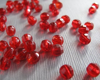 50pcs Light Ruby Red Round Faceted Glass Beads 6x5.5mm - B-01RP-100