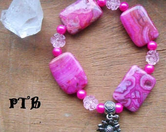 Laughter ~ Authentic Fuchsia Crazy Lace Agate Sunflower Rose Gemstone Bracelet 8""