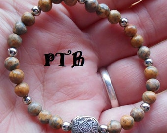 "Shaman Travel ~ Authentic Natural Leopard Skin Jasper 5mm Gemstone Bracelet 7"""