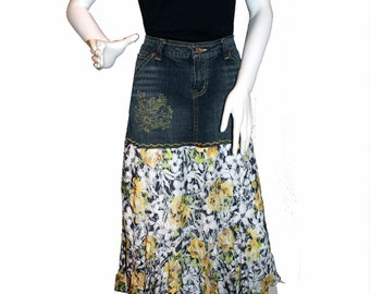 Altered Jean Skirt (Size 7/8), Upcycled Denim Skirt, Eco-Friendly Clothing