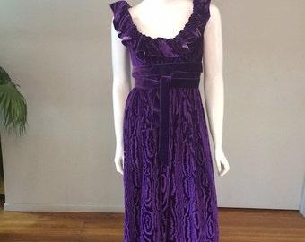 Vintage Donald Brooks Boutique Purple Moire Velvet Dress