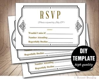 Diy Wedding RSVP Template,Black and Gold Wedding Response Card,Printable RSVP Card,RSVP Wedding,Response Card Template,Gold Wedding rsvp