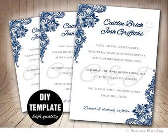 Navy Blue Wedding Invitation Template DIY,Instant Download Printable Wedding Invitation,Blue Wedding Invite,Lace Wedding Invitation