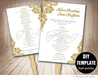 Gold Wedding Program FAN Template DIY Instant Download, Printable Wedding Fan Program,Gold Wedding Fan Program,Classic Wedding,Gold Program