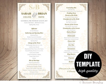 Gold Wedding Program Template DIY Instant Download Microsoft Word Silver And