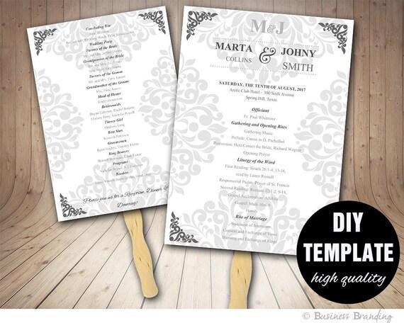 Wedding Program FAN Template DIY Instant Download Microsoft