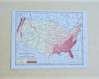 1925 - United States Map - Antique Cram's Atlas Map - Vintage United States Map - Old Atlas Map - Small Antique Map