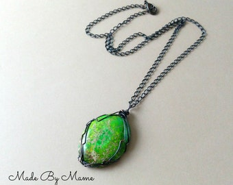 Green Jasper Rustic Pendant Necklace, Bohemian Jewelry, Sea Sediment Jasper, Oxidized Copper, Gypsy, Hippie, Boho Wire Wrapped Pendant