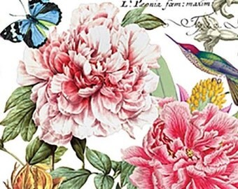 TWO (2) Paris, Peony Flowers, Butterflies Paper Luncheon Napkins for Decoupage and Paper Crafts