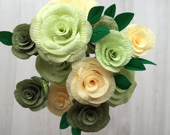 Crepe Paper Roses - vanilla, sage and lime handmade bunch of 12 roses - 35cm wired stems with leaves, beautiful for weddings or a gift