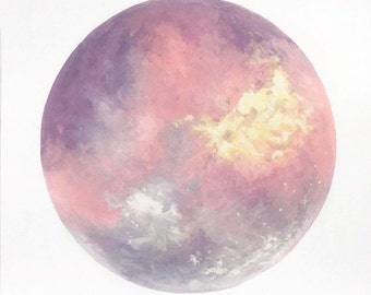 Moon Print, Moon Art, Purple Moon, Pink Moon, Abstract Moon, Lunar Art, Space Art, Celestial Art, Moon Painting, Boho Art, Pastel Art