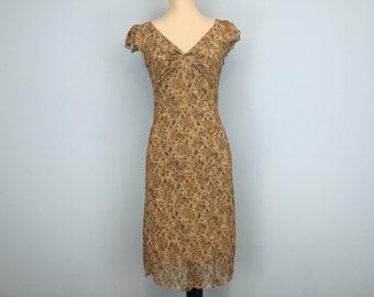 90s Floral Grunge Dress Hippie Boho Dress Hipster Brown Floral Dress Medium Dress Vintage Dresses 90s Clothing Summer Dress Womens Clothing
