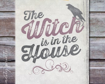 Printable Halloween Decor. Instant Download 2 Prints: Witch in the House and Come in for a Bite Halloween Wall Art. Halloween Signs