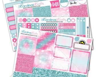 Pink & Blue Glitter Bokeh Planner Kit 200+ diecut stickers / for Erin Condren Stickers / Life Planner Stickers #SQ00259-ECV