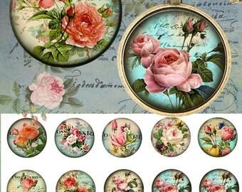 Rose vintage 25mm - 4x6 Bottle Cap Images Digital Collage INSTANT DOWNLOAD