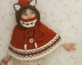 KNITTING PATTERN fox poncho with hood and cowl Lexi with Fair Isle  (toddler and child sizes)