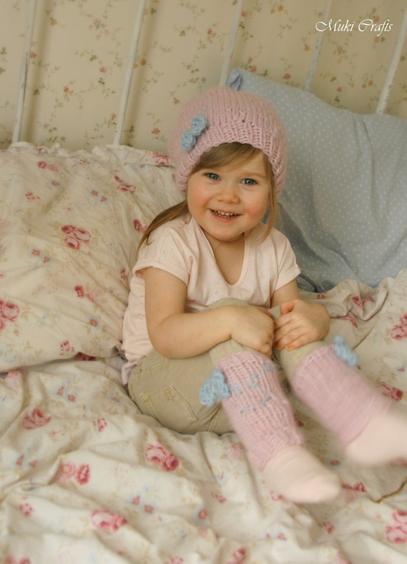 KNITTING  PATTERN leg warmers and slouchy hat Fly (bqby, toddler, child, adult sizes)