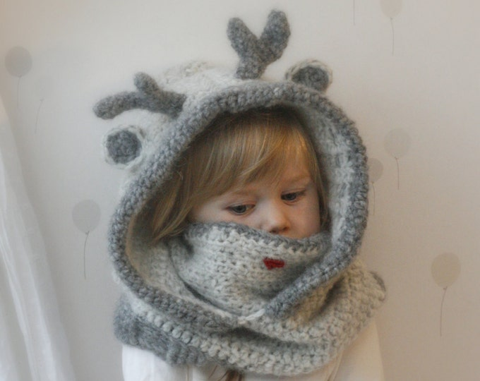 CROCHET PATTERN reindeer hooded cowl Christmas Rudy with antlers - PDF crochet pattern (baby, toddler, child and adult sizes)