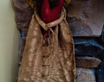 Primitive Valentine Hand made Angel Doll