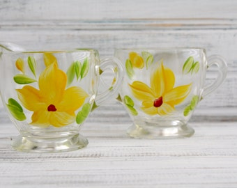 Bartlett Collins Hand Painted Floral Cream & Sugar Set