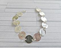 Silver disc bracelet, 925 silver bracelet, Hammered disc bracelet, Statement bracelet, Textured silver bracelet, Disc bracelet, Made in UK