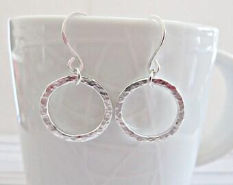 Fine silver circle earrings, Hand forged earrings, Silver washer earrings, Open circle earrings, Silver dangle hoops, Artisan jewellery, UK
