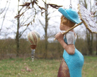 Lady of the 19th century, light bulb, OOAK sculpture