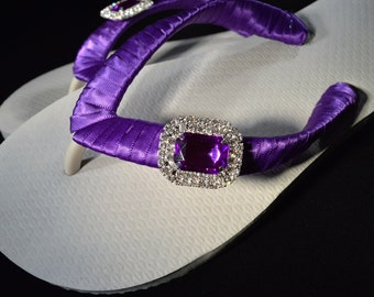 Bridal Party Wedding Flip Flops *PURPLE* white flats with purple and clear rhinestone