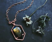 malka • labradorite necklace • labradorite pendant necklace - witch jewelry - copper crystal necklace - seer stone - witchy necklace