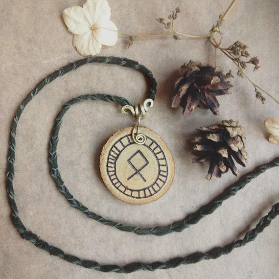 othala rune necklace wooden rune pendant viking necklace. Black Bedroom Furniture Sets. Home Design Ideas