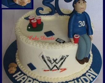 Sitting Man Cake Topper Kit, Fondant, Handmade Edible, Dad, brother, husband, son, birthday cake, personalize cake topper, person cake