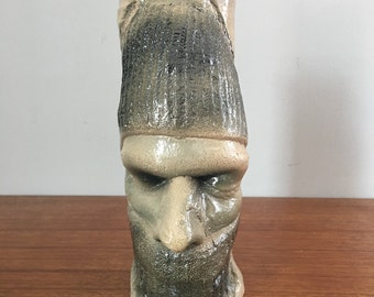 Vintage Grotesque Face Southern Folk Art Pottery Vase