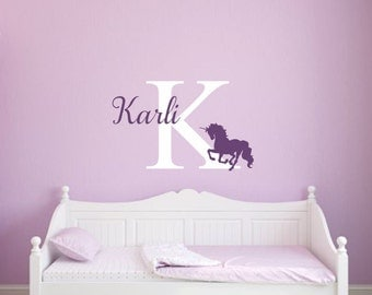 Unicorn Wall Decal Unicorn Vinyl Decal Girl Wall Decal Unicorn Decal  Personalized Decal Vinyl Unicorn Decal Girl Nursery Decal