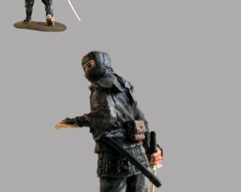 Japanese Ninja Action Figurine 1/32 Scale Sculpture Toy Soldiers 54mm Hand Painted Collection Tin Metal Miniature  Statuette