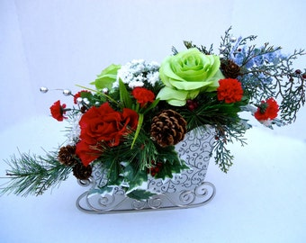 Christmas Centerpiece in Holiday Metal Sleigh,  Table Centerpiece,Christmas Arrangement, Christmas Dinning Table, Winter