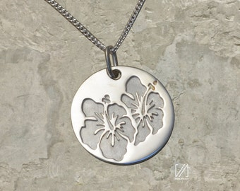 Two Hibiscus Flowers necklace-925 Sterling Silver- Handmade in USA.