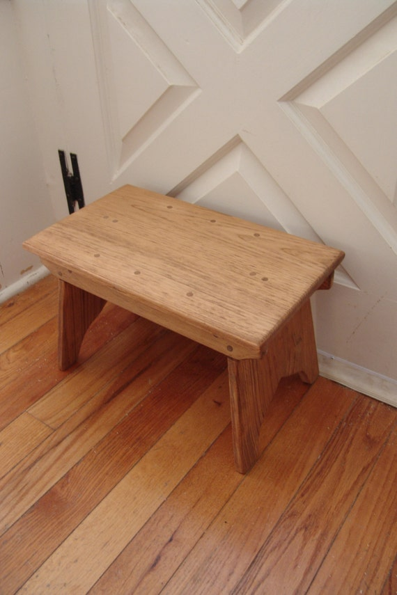 Antique Bed Stool: Handcrafted Vintage Style Wooden Step Stool