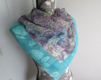 "Vintage Scarf Chiffon Sheer Crepe Paisley Turquoise Purple Pink Square Lavender Pastel Aqua Robins Egg Blue Large 33"" Inch"