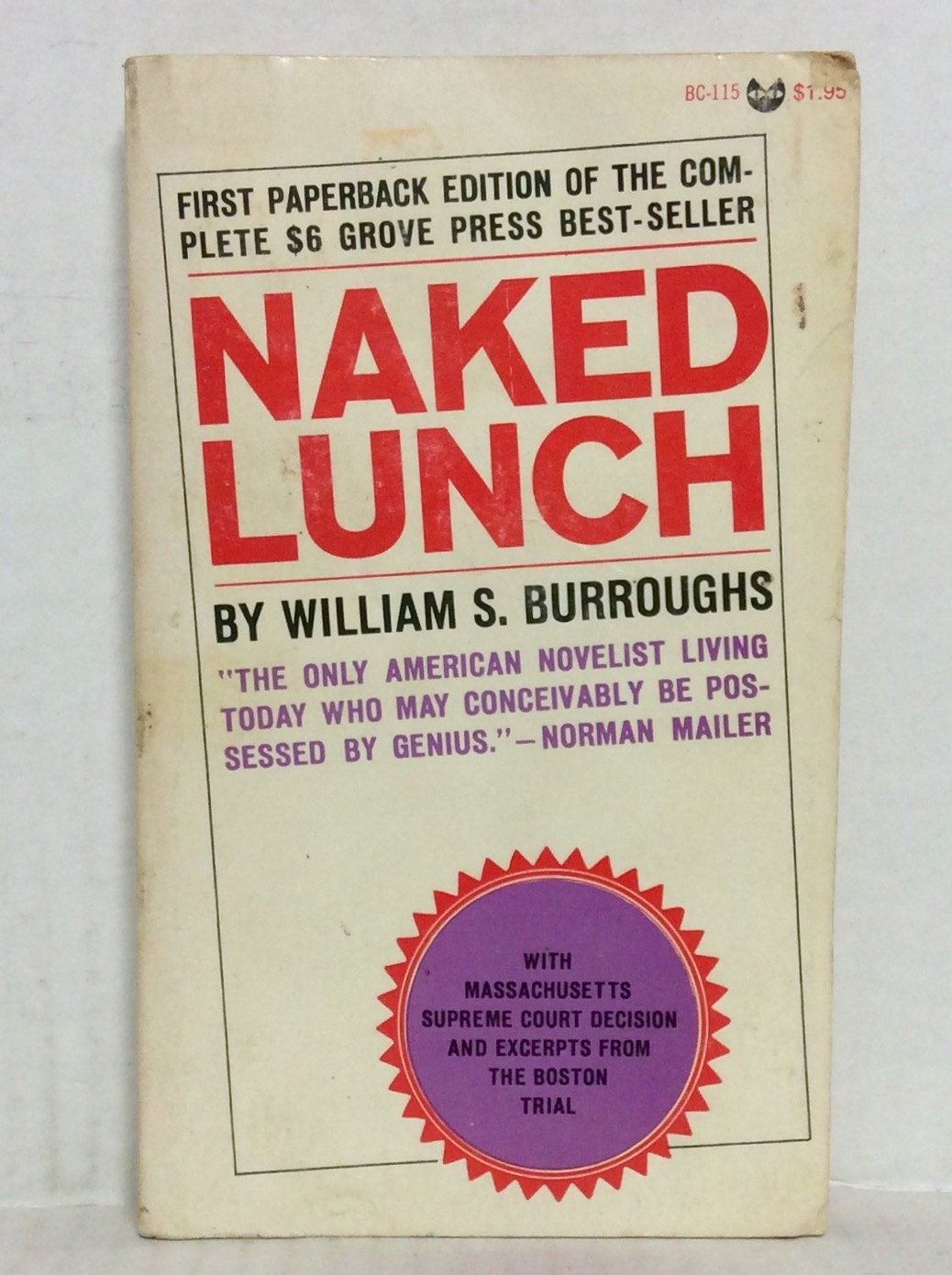 Naked Lunch by William S. Burroughs vintage literary sci-fi