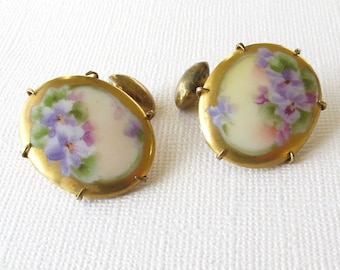 Vintage Womens' Cuff Links. Hand Painted Violets on Porcelain. Lavender. Purple. Green. Pink. Gold. Mauve. Ceramic. Antique. Cufflinks [6]