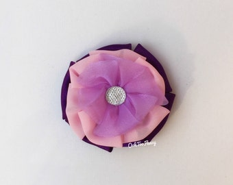 Purple Flower Hair Bow, Girl Pink and Purple Hair Clip, Fluffy Flower Hair Bow, Purple Hair Bow, Fabric Flower Hair Bow