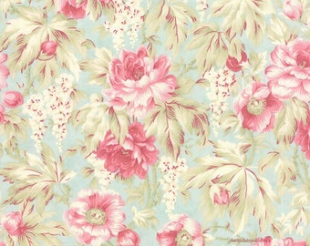 3 Sisters Favorites, Moda 3768 14 Sea Glass, Cottage Chic Fabric, Pink Roses Fabric, Shabby Floral Fabric, Pink & Blue, Cotton Quilt Fabric