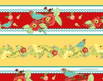 Sale- Red & Gold Floral, Birds Border Quilt Fabric, In the Beginning 1AJA2 Ranunculus Floral, Audrey Jeanne Roberts, Flowers, Bird Fabric