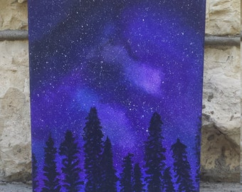 Forest Night Sky Painting