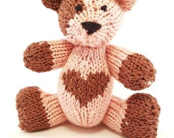 Amy the Hand Knit Teddy Bear, Knitted Bear, Bear, Children, Baby, Gift, Stuffed Animal, Toy, Hand Knit Toy, Teddy Bear, Nursery, Shower Gift