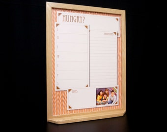 Burnt Orange Herringbone Menu Planner Whiteboard - Weekly Meal Planner/Grocery List - Personalized Framed Dry Erase Board - Dinner Organizer