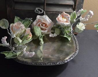 Vintage Silver serving platter old and tarnished