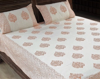 Cotton Block Print Floral Flat Bed sheet with 2 pillow covers from Jaipur